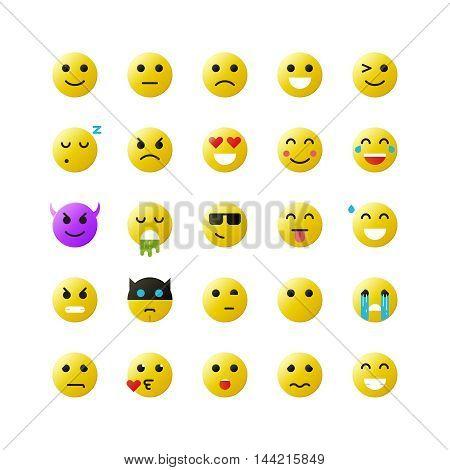 Set of yellow emoticons on white background. Vector emoticons illustration.