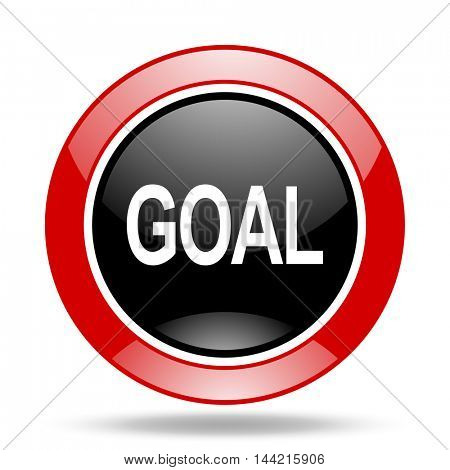 goal round glossy red and black web icon