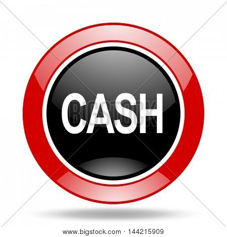 cash round glossy red and black web icon