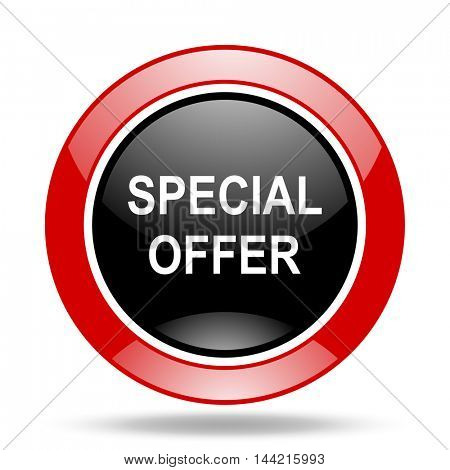 special offer round glossy red and black web icon