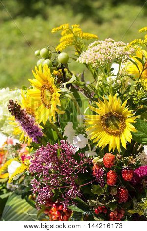 handmade beautiful bouquets from flowers and herbs
