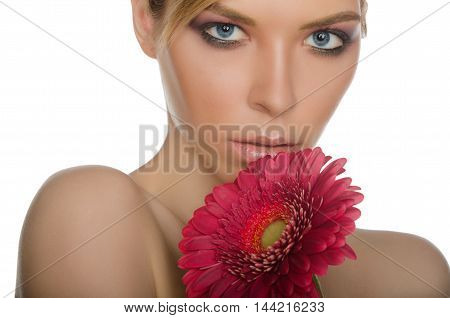 portrait of beautiful woman with chrysanthemum isolated on white