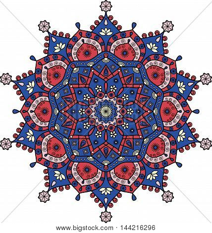 Mandala in dark blue & dark red, pale pink & pale yellow. Floral pattern based on Indian/Buddhist mandala art. Ornamental print for meditation, yoga & vintage mural decor, wall decals & stickers.