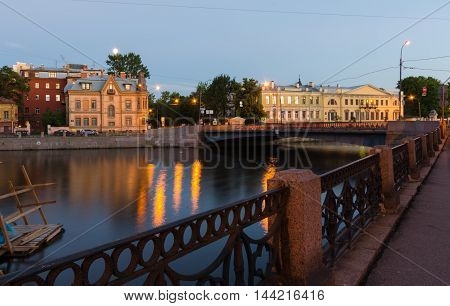 Schröter's house at the Moyka Embankment. Night view. Saint-Peterburg. Russia.