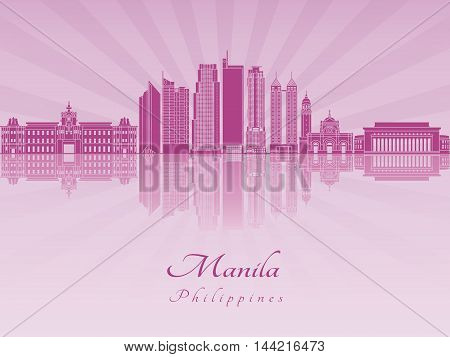 Manila skyline in purple radiant orchid in editable vector file