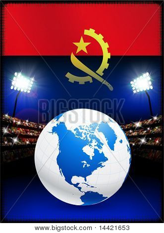 Angola Flag with Globe on Stadium Background Original Illustration
