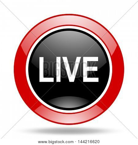 live round glossy red and black web icon