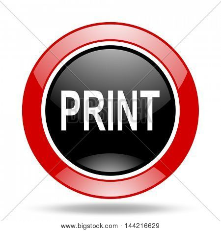 print round glossy red and black web icon