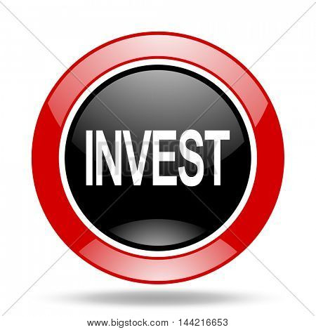 nvest round glossy red and black web icon
