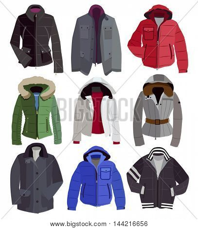 collection of warm winter jackets (vector illustration)