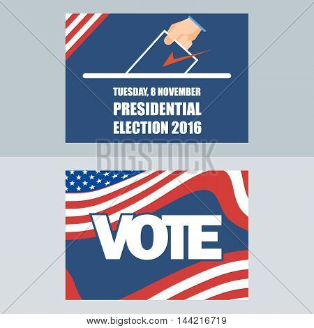 Usa 2016 election card with man hand with ballot. Digital vector image