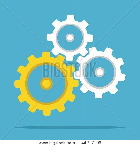 Unique gold gears among white ones on blue background. Teamwork cooperation and technology concept. Flat design. Vector illustration. EPS 8 no transparency