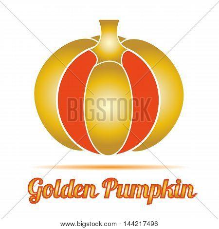 Golden pumpkin icon on a white background. Vector illustration.