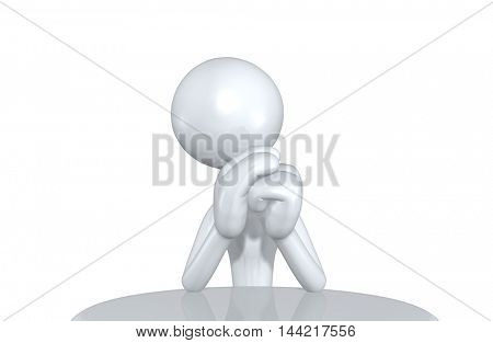Character At A Table 3D Illustration