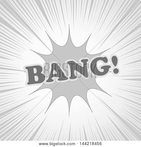 Bang comic cartoon in black and white colors. Pop-art style. Vector illustration with blot and rays. Explosion template