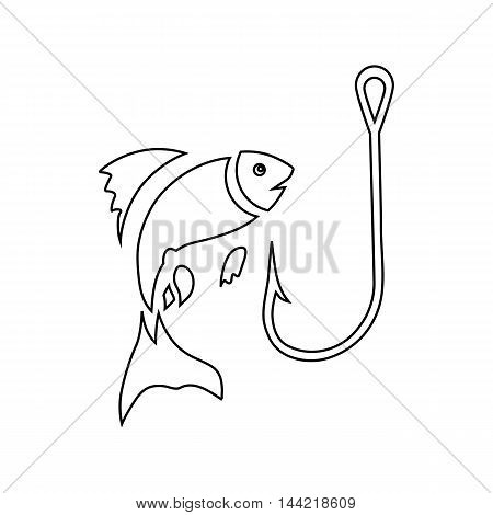 Fishing hook and fish icon in outline style isolated on white background