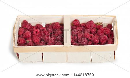 Basket with raspberries isolated on white background