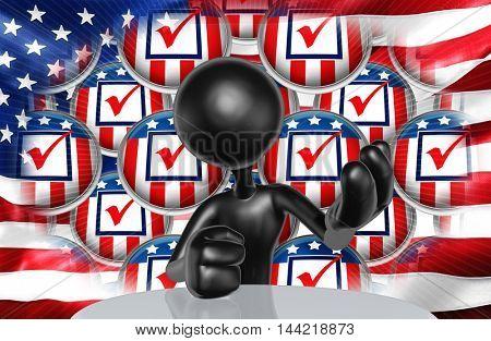 United States Of America U.S. Election Concept 3D Illustration
