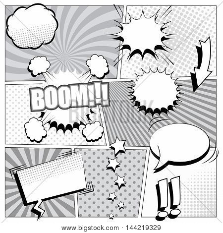 Comic book background in black and white colors. Vector illustration with speech bubbles, arrow, stars, sound and halftone effects, funny radial and dotted backgrounds. Pop-art style.