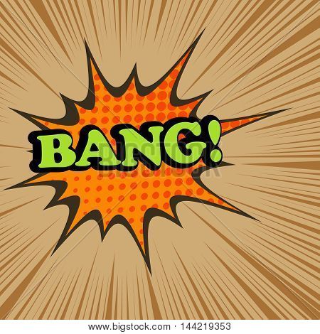 Bang comic text. Pop-art style. Vector illustration with star, halftone effect and black rays. Explosion template