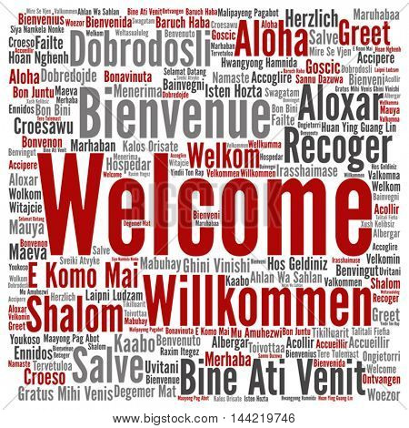 Vector oncept or conceptual square welcome or greeting international word cloud in different languages or multilingual, metaphor to world, foreign, worldwide, travel, translate, vacation or tourisme