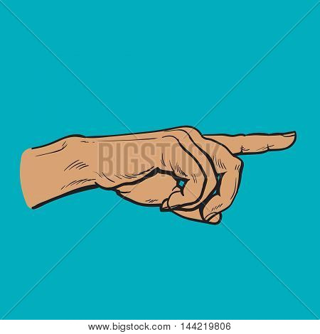 Human hand pointing at something, illustration finger men, color sketch art isolated on white background, in the right direction concept
