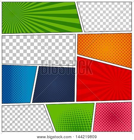 Set of comic book backgrounds in different colors with radial, chess and halftone effects. Pop-art style. Blank template mock-up