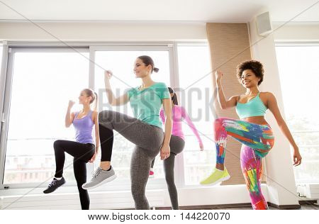 fitness, sport, training, exercising and people concept - group of happy women working out and raising legs leg in gym