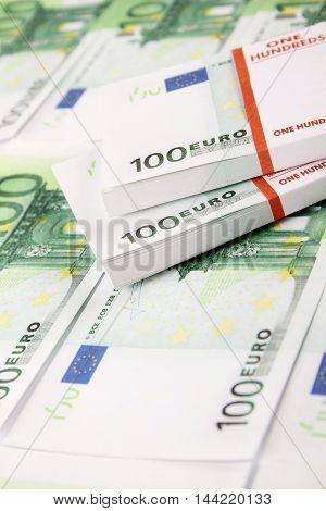 Close-up of euro cash pile of money