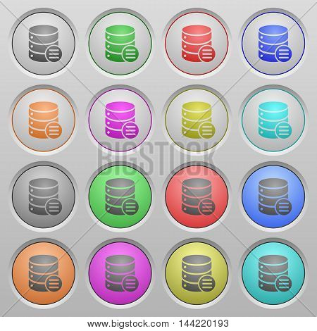 Set of database options plastic sunk spherical buttons.