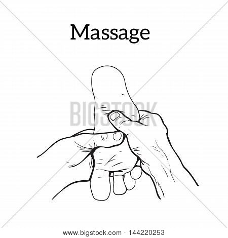 illustration of a foot massage, relaxation therapy isolation on a white background. Therapeutic medicine