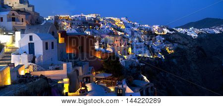 Evening lights in the Santorini in blue