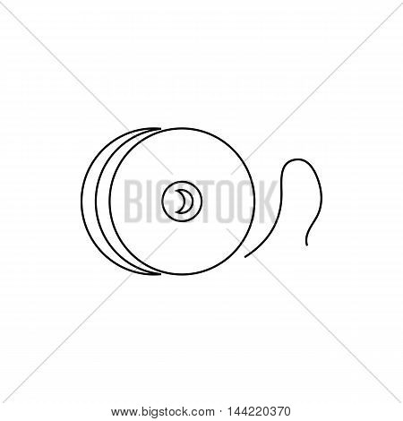 Reel with fishing line icon in outline style isolated on white background