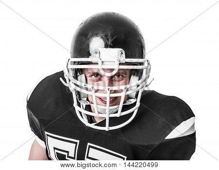 American football player close-up isolated on white background.