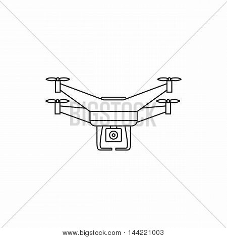 Quadcopter drone with camera icon in outline style isolated on white background