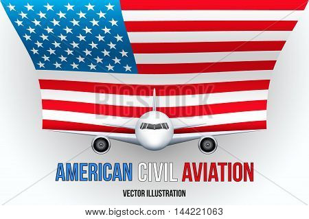 Front view of Civil Aircraft with flag of United States. Public or private plane. For business and travel design. Vector Illustration isolated on background.