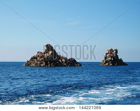 Couple of stone formations in Mediterranean sea near Corsica island, France