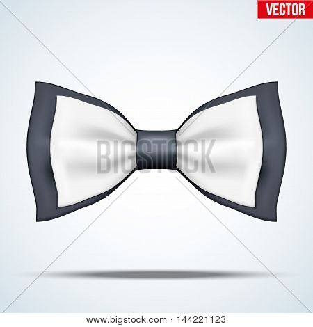 Classic Black and white bow tie. Fashion and trendy symbol. Editable Vector illustration Isolated on background.