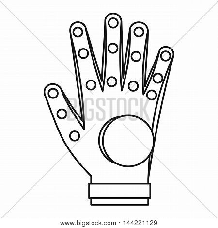 Electronic glove icon in outline style isolated on white background