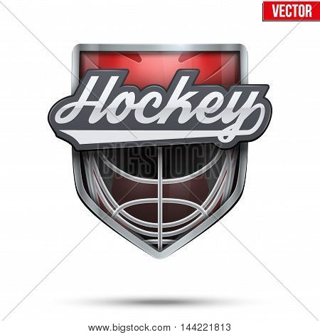 Premium symbol of Hockey Field label. Symbol of sport or club. Vector Illustration isolated on white background.