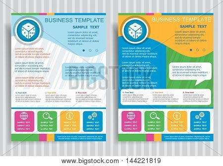 Gambling Dice Vector Icon On Vector Brochure Flyer Design Layout Template