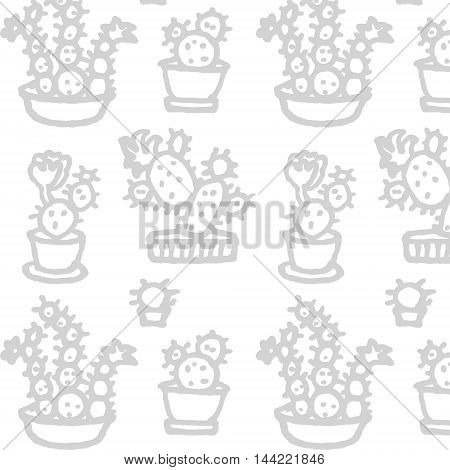 Vector seamless pattern with brush hand drawn cacti in pots.