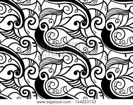 Black and White Illustration Featuring Vines Creating a Seamless Pattern