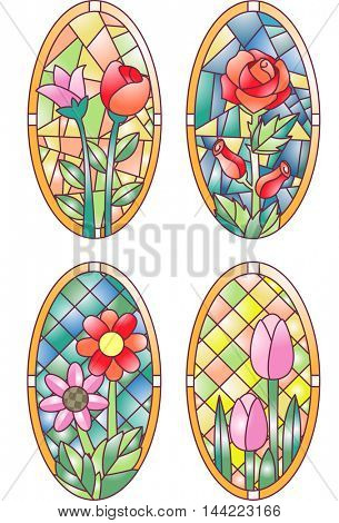 Illustration Featuring Colorful Stained Glasses Designed with Flowers