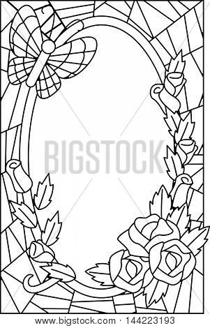 Black and White Illustration Featuring a Coloring Page Decorated with Flowers
