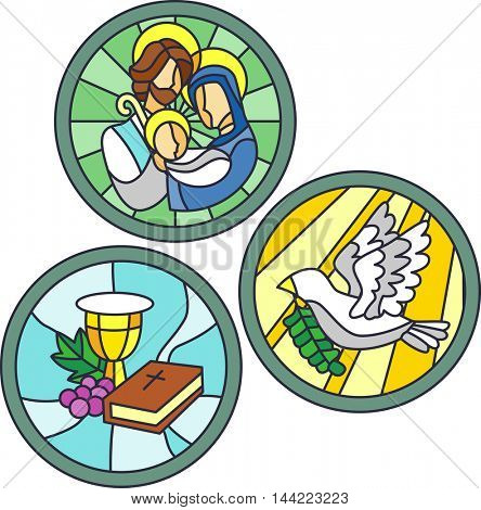 Stained Glass Illustration Featuring Christian Symbols