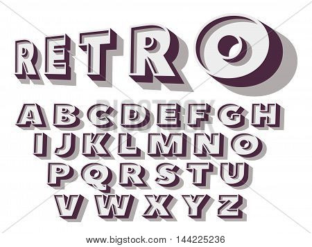 Retro type font, vintage typography.  Vector illustration.
