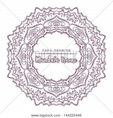 Vector mandala for coloring with floral decorative elements. Patterned Design Element Coloring book. Vector illustration.