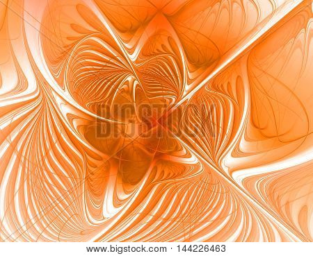 Abstract orange beautiful flower background fractal onj bright background