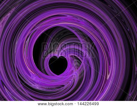 Abstract fractal purple heart swirling on black background